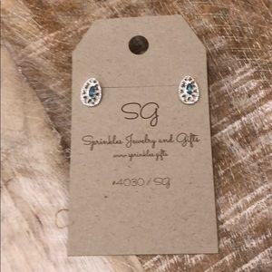 Jewelry - EARRINGS Silver lattice ocean blue NEW
